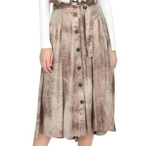 Zara golden wash paper bag waist midi skirt